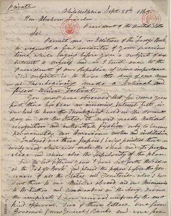 Carta de Hale enviada al presidente Abraham Lincoln